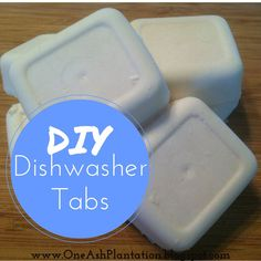 DIY+Dishwasher+Tablets  The ingredients: 1 cup Arm and Hammer Washing Soda 1 cup Baking Soda 1 cup Kosher Salt (more or less, the purpose is to reduce water spotting. if your water is soft you can use less) 3 TBS. Lemon Juice 1 cup water