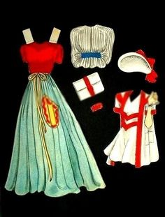 1940 Everyday Lady Paper Doll Set of 4 Digital by KFcollection