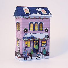 The Silver Crane Company Tin Winter Townhouse Purple: Amazon.co.uk: Kitchen & Home