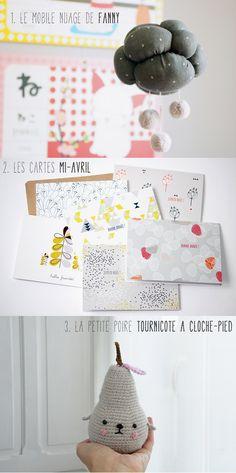 {giveaway} Concours 1 an Petit Poulou :: A gagner : Le mobile nuage de Fanny * Les cartes Mi-Avril * La petite poire Tournicote à cloche-pied