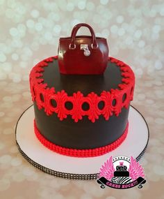 Red & black cake by Cakes Rock: used Karen and Classic Pearl Border by Marvelous Molds