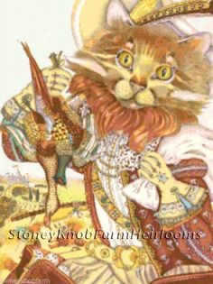 Puss N Boots ~ Fairy Tale Art ~ Counted Cross Stitch Pattern Printed #StoneyKnobFarmHeirlooms #CountedCrossStitch