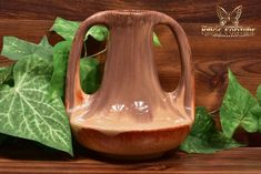 Muncie Pottery 1929 Glossy Brown Peachskin 2 Handle Genie Vase - The Kings Fortune Light Reflection, Pottery Art, American Art, Accent Decor, Indiana, Color Schemes, Restoration, Arts And Crafts, Handle