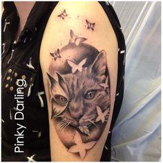 Tattoo By Pinky Darling at Cosmic Tattoo  #cat #tattoo #butterfly