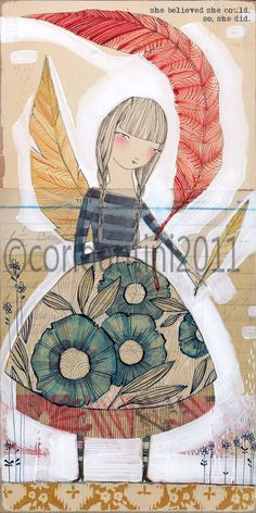woman with feather watercolor painting inspirational by corid, $20.00