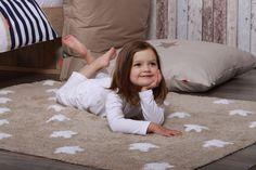 Grey & White Stars Washable Nursery Rug | Urbanmummy