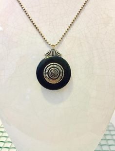 Black Button Pendant Necklace Long Silver Chain Vintage