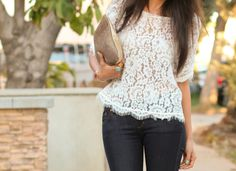 Lace top with your jeans. Lovely.