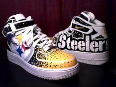 Pittsburgh Steelers Custom Shoes: Nike Air Force Vans and Pittsburgh Steelers, Steelers Football, Steelers Stuff, Football Fever, Air Force 1, Nike Air Force Ones, Nike Fashion, Sneakers Fashion, Fashion News