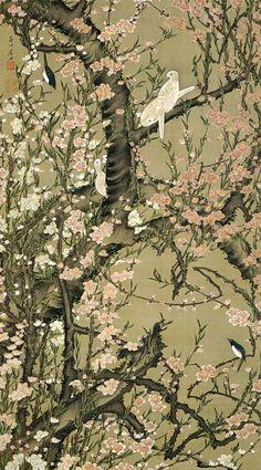 Ito Jakuchu 動植綵絵 Doshoku Sai-e Title: 桃花小禽図 Toka Shokin-zu(Peach Blossoms and Small Birds) c 1761-1765