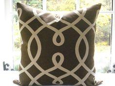 DURALEE--Decorative Pillow Cover----Geometric--Throw Pillow -Accent Pillow-- Chocolate and Tan --Sofa Pillow