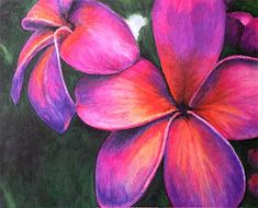A painting of my favorite flower-the Frangipani aka plumeria.  Oil pastel by my mother.