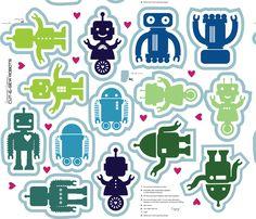 Automated Cuteness Robot Softies fabric by jenimp on Spoonflower - custom fabric