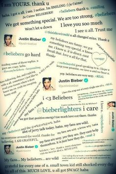 This is so sweet, Justin's tweets to his beliebers... Jeliebers forever <3