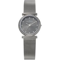 Skagen 'Mesh' Small Crystal Accent Watch Grey One Size found on Polyvore