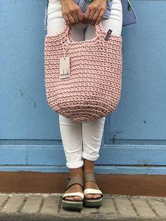 Crochet Tote Bag Knitted Handbag BABY PINK color Modern Style Baby, Baby Pink Colour, Crochet Tote, Knitted Bags, Scandinavian Style, Crochet Projects, Straw Bag, Crocheting, Crochet Patterns
