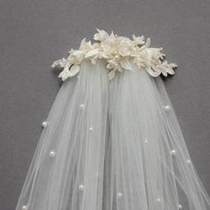 Bespoke for Sarah_lace wedding headpiece with pearlsSarah's husband-to-be is Australian and she dreamed of a lace wedding headpi… - HaarschmuckWedding veils and headpieces: Discover the 2017 wedding trend of layering your bridal comb and veil and how to Headpiece Wedding, Wedding Veils, Bridal Headpieces, Bridal Comb, Bridal Hair, Lace Wedding, Wedding Dresses, Diy Wedding, Vintage Wedding Hair
