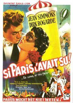 So Long at the Fair 1950 Poster Jean Simmons, Victor Fleming, David Lean, Jean Renoir, Bob Fosse, William Wyler, Night Film, The Last Movie, John Huston