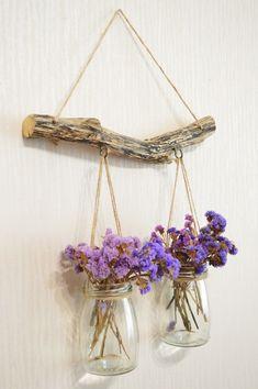 Mason Jar Garden, Pot Mason Diy, Rama Seca, Terrarium Wedding, Driftwood Wall Art, Hanging Vases, Diy Hanging, Hanging Mason Jars, Elegant Centerpieces