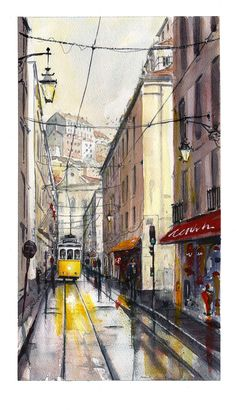 Finished watercolour, Lisbon Tram 28 24 x on Bockingford watercolour paper. Architecture Drawing Sketchbooks, Watercolor Architecture, Watercolor City, Watercolor Landscape, Lisbon Tram, Palestine Art, Street Painting, Mini Canvas Art, Perspective Drawing