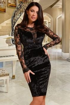 Rochie Atmosphere neagra de ocazie midi conica din catifea si dantela cu maneca lunga Formal Dresses, Fashion, Tea Length Formal Dresses, Moda, Formal Gowns, Fashion Styles, Black Tie Dresses, Gowns, Fashion Illustrations