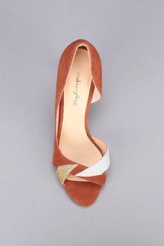 Sandales à talons cuir camel doré/argenté paillettes Veline