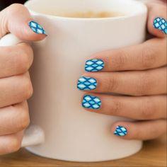 Mid-Century Modern Diamonds Denim Blues Minx Nail Art - create your own personalize