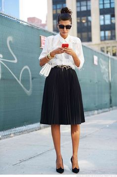 black midi skirt white shirt @roressclothes closet ideas #women fashion outfit #clothing style apparel