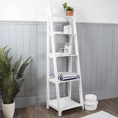 Nautical Wooden Ladder Shelves White | Dunelm