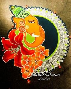 Find and explore top collection of ganesh rangoli designs images. Simple and latest rangoli designs for Ganesh Chathurthi. Easy Rangoli Designs Diwali, Rangoli Designs Latest, Simple Rangoli Designs Images, Rangoli Designs Flower, Rangoli Patterns, Rangoli Ideas, Beautiful Rangoli Designs, Kolam Designs, Rangoli Photos