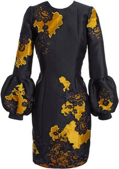 ShopStyle: Erdem EXCLUSIVE Embroidered dress with bell sleeves