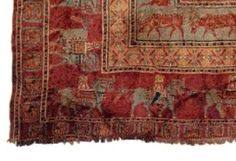 One of the oldest carpets in the world, the Pazyryk carpet that was found in 1947.