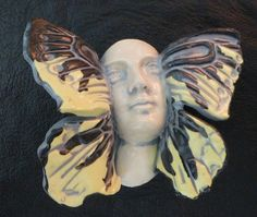 Handmade ceramic face butterfly winged angel beading jewelry