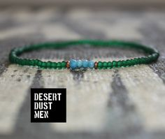 Mens seed bead, Seed bead men with turquoise, Turquoise men, Emerald green men, Green bracelet, Turquoise by DESERTDUSTMEN on Etsy