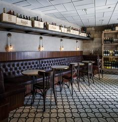 Talbia Wine Bar — Jerusalem, Israel could do this shelf above banquette with bean jars Bar Restaurant, Restaurant Concept, Restaurant Design, Irish Pub Interior, Bar Interior, Wine Bar Design, Cafe Design, Design Design, Jerusalem Israel