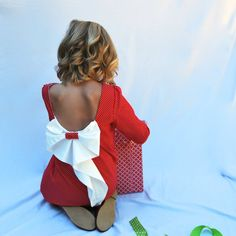 girls red dress with bow  red  dot dress girls by SchoolHouseFrock