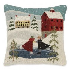 Village Skaters Hooked Wool Pillow | Sturbridge Yankee Workshop