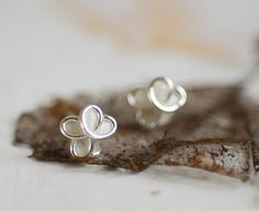 Sterling Silver Snow Cream White Forget Me Not Flower Post Earrings, 1st Anniversary Paper Gift Jewelry, Bridesmaid Gift Wearable Art.... by TaylorsEclectic on Etsy
