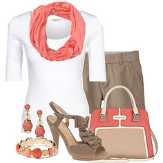 brown shorts, white top, coral scarf & jewelry, brown/grey wedges