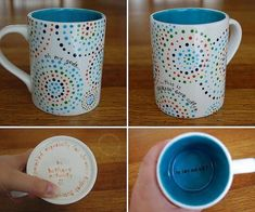 Awesome Ways Diy Store Mugs — Home Design Ideas Pottery Painting, Ceramic Painting, Dot Painting, Paint Designs, Mug Designs, Diy Laden, Diy Becher, Pottery Place, Painted Mugs