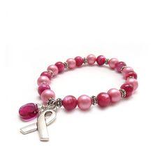 Breast Cancer Awareness Bracelet  Pink by RockStoneTreasures, $44.00