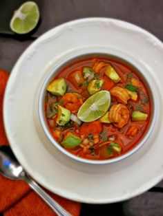Caldo de Camaron (Mexican Shrimp Soup) lacocinadeleslie.com