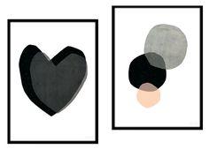 Affiche poster illustration style scandinave chambre déco salon noir et blanc pastel tendance esprit nordique