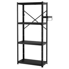 IKEA BROR Shelving unit Black 85 x 40 x 190 cm The shelving unit is durable, easy to clean and protected from rust, as it is made of powder-coated galvanized steel. Concrete Bags, Kallax Shelf Unit, Ikea Regal, Foldable Table, Shelving Systems, Tv Storage, Solid Pine, Galvanized Steel, Paint Cans