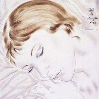1928 Femme endormie  huile 24 x 18 collection particulière