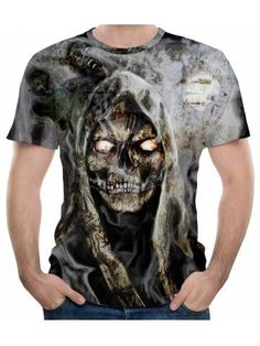 Summer Fashion Skull Print Men's Short Sleeve T-shirt - Gray Wolf love skulls get your skulls. Skull Fashion, Punk Fashion, Fashion Wear, Mens T Shirts Uk, Airbrush T Shirts, Creative T Shirt Design, Skull Shirts, Gothic Outfits, Printed Shirts