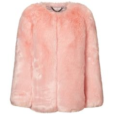THP Shop Baby Pink Faux Fur Coat (£565) ❤ liked on Polyvore featuring outerwear, coats, jackets, fur, imitation fur coats, baby pink coat, red flare coat, pink coat and red collarless coat