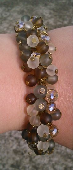 Toremore Crafts - brown, ice green, white and champagne cluster bracelet