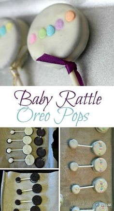Fun addition for OHH Baby Shower- Baby Rattle Oreo Pops - baby shower desserts girl - Bebe Idee Baby Shower, Baby Shower Treats, Baby Shower Desserts, Baby Shower Parties, Easy Baby Shower Cakes, Baby Shower Recipes, Baby Girl Shower Food, Baby Shower Stuff, Ideas For Baby Shower