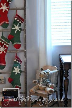 Old ladder used to hang stockings